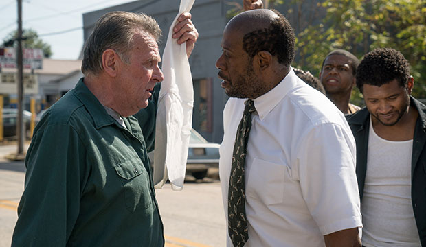 "Tom Wilkinson, Forest Whitaker and Usher Raymond, aka Usher, star in a scene from the movie ""Burden."""