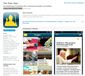 "This is a screen capture of ""The Pope App,"" launched by the Vatican Jan. 23, the eve of Pope Benedict XVI's World Communications Day message. The app for the iPhone and iPad provides live streaming of papal events and video feeds from the Vatican's six w ebcams. An Android version is expected in February. (CNS/Vatican)"