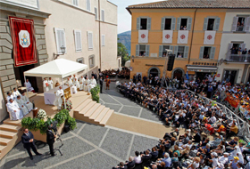 Pope Francis celebrates a Mass Aug. 15 for the feast of the Assumption of Mary in the main square of Castel Gandolfo, a small town in the hills near Rome where previous popes have spent the summer months. (CNS photo/Giampiero Sposito, Reuters