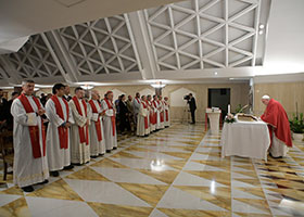 Pope Francis celebrates Mass Sept. 16, 2019, in the chapel of the Domus Sanctae Marthae, where he lives. After a summer break, the Mass marked the resumption of the pope inviting a small group of priests and faithful to join him for the liturgy. In his homily, Pope Francis urged Catholics to take seriously the call to pray for politicians, government leaders and all those in authority. (CNS photo/Vatican Media) See POPE-MASS-PRAY-POLITICIANS Sept. 16, 2019.