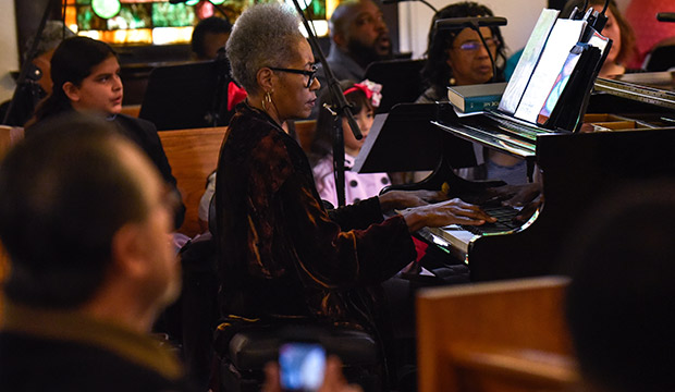 Zenobia Collins at the piano