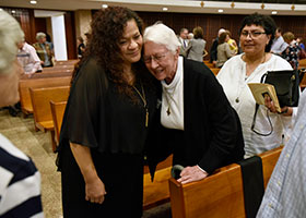 Norma Flores, left, congratulates Sr. Roberta Hesse after the 200th Anniversary of the Sisters of St. Mary of Namur, Saturday Nov. 09, 2019 at St. Andrew Parish in Fort Worth.