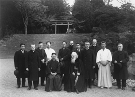 Msgr. Vladimir Ghika, front right, is pictured in a 1937 group photo in Japan. Msgr. Ghika, who converted to Catholicism from Orthodoxy, is scheduled to be beatified as a martyr Aug. 31 in Romania, 59 years after dying from cold and hunger in a communist prison. (CNS photo/courtesy of the Archdiocese of Bucharest)