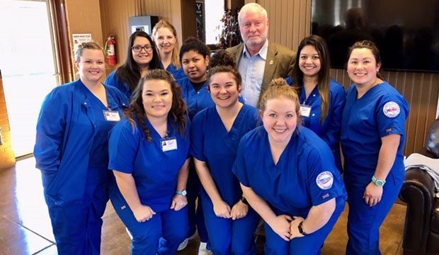 Instructor Nick Bixby with Rural Vocation scholarship recipients in the LVN program at North Central Texas College in Graham. (Photo courtesy of CCFW)