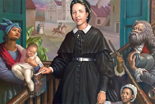 Venerable Henriette Delille is depicted in a painting by Haitian artist Ulrick Jean Pierre. (CNS/Courtesy Sisters of the Holy Family)