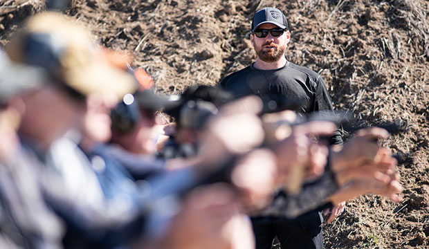 Michael Short instructs Guardian Ministry volunteers during a day-long firearms training