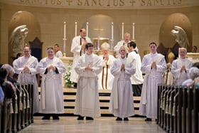 The six former Anglican priests, (left to right) Christopher Stainbrook, Charles Hough,III, Joshua Whitfield, Timothy Perkins, Charles Hough, IV, and Mark Cannaday, present themselves to the congregation prior to their ordination.