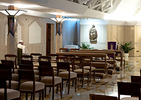 Pope Francis celebrates Mass in the chapel of his residence,