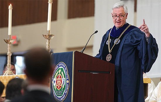 University of Dallas President Thomas Hibbs delivers his inaugural address Nov. 1. (Photo courtesy University of Dallas)
