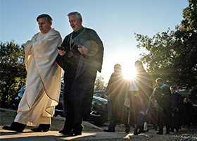 University of Dallas president Thomas Hibbs (right) walks to the inauguration ceremony on Nov. 1 at the University of Dallas in Irving. (Photo courtesy University of Dallas)