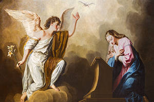 """The Annunciation"" by Giovanni Antonio Pellegrini (1725-1727)."