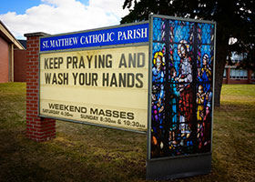 A sign outside of St. Matthew Church in Allouez, Wis., March 13, 2020, reminds people how to take care during the coronavirus pandemic. (CNS photo/Sam Lucero, The Compass)